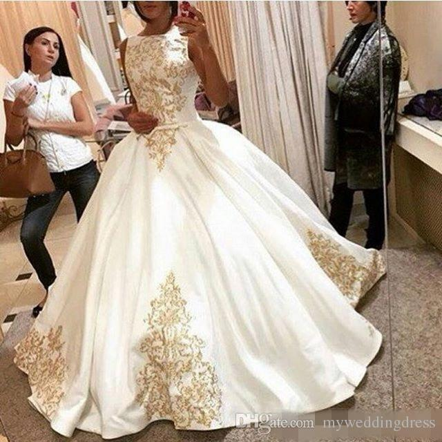 2017 ball gown wedding dresses vestidos vintage white for Gold vintage wedding dresses