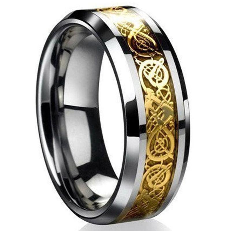 Fashion Celtic Dragon Stainless Steel Titanium Men's Wedding Band Rings 2 Color