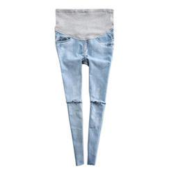 Демисезонный беременных Для женщин джинсы Рваные джинсовые брюки для беременных кормящих поддежка живота брюк 998