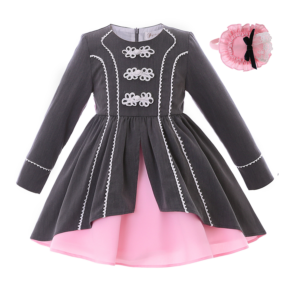 Pettigirl Newest Fashion Autumn Vintage Party Dress With Pink Headband Long Sleeve Lace  Kids Pageant Clothing G DMGD106 B312-in Dresses from Mother & Kids