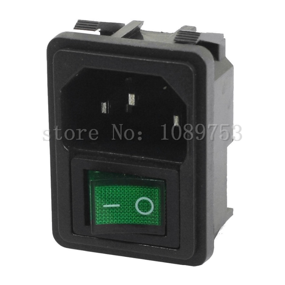 Panel Mount Green Rocker Switch IEC320 C14 3 Pin Plug Power Socket AC250V 10A