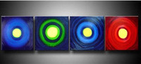 Handpainted Abstract Oil Paintings on Canvas Modern Home Decor Wall Art Handmade 4 Piece Pictures Color Aperture Circles Artwork