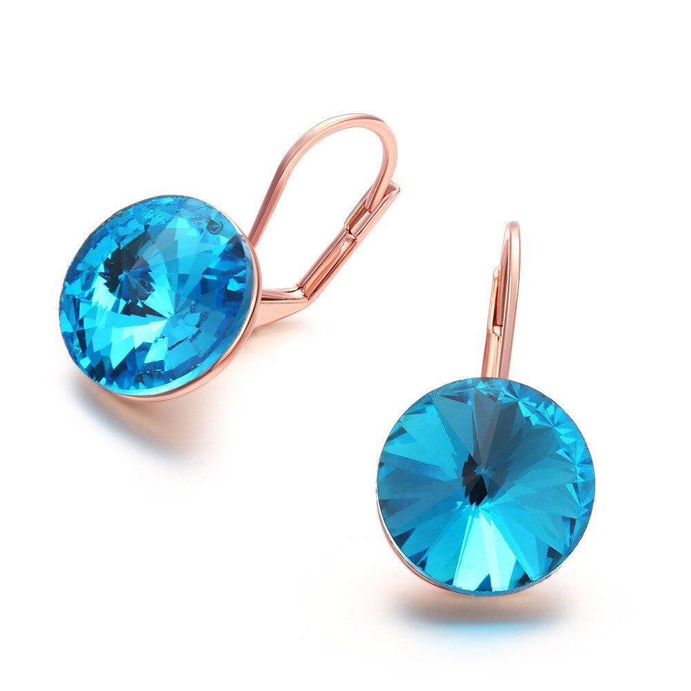Marine Blue Zircon Inlaid Clip Earrings for Women Silver