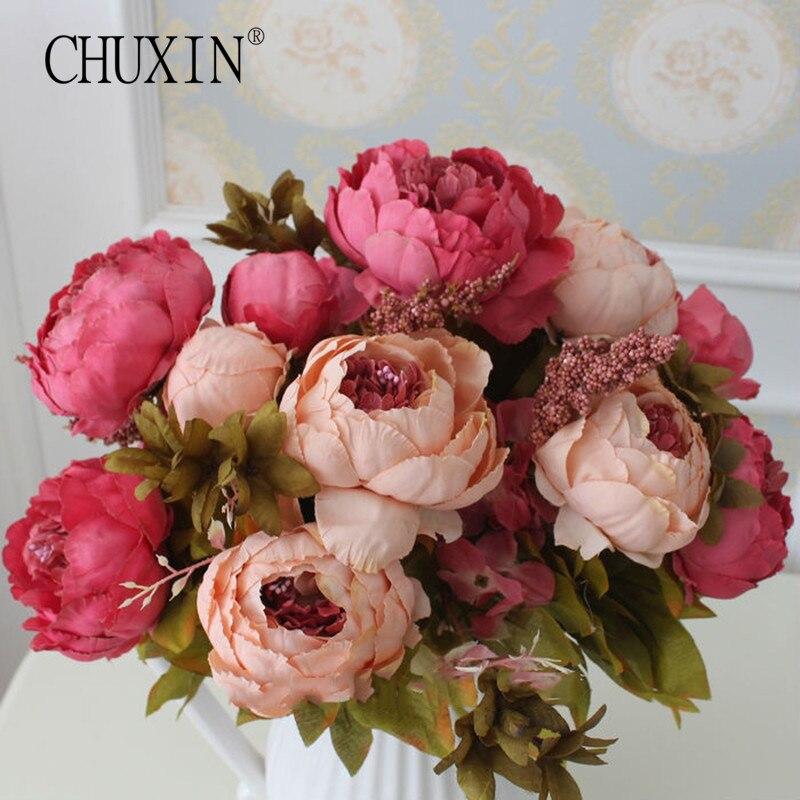 Высокое качество, Шелковый цветок, Европейский 1 букет, искусственные цветы, осенняя яркая Роза, пион, Искусственный лист, свадебные вечерни...