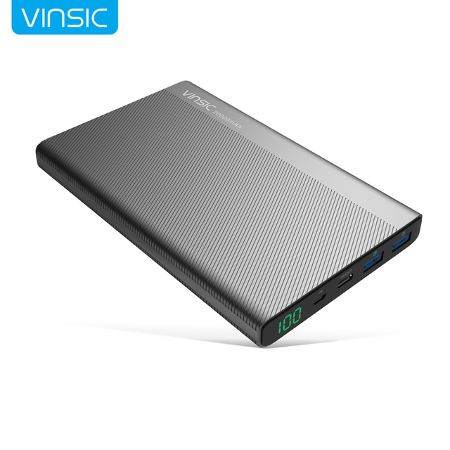 Vinsic 20000mAh Power Bank 2.4A Dual USB Type-C LED Dispaly External Battery Charger for iPhone X 8 8 Plus Xiaomi Huawei Samsung