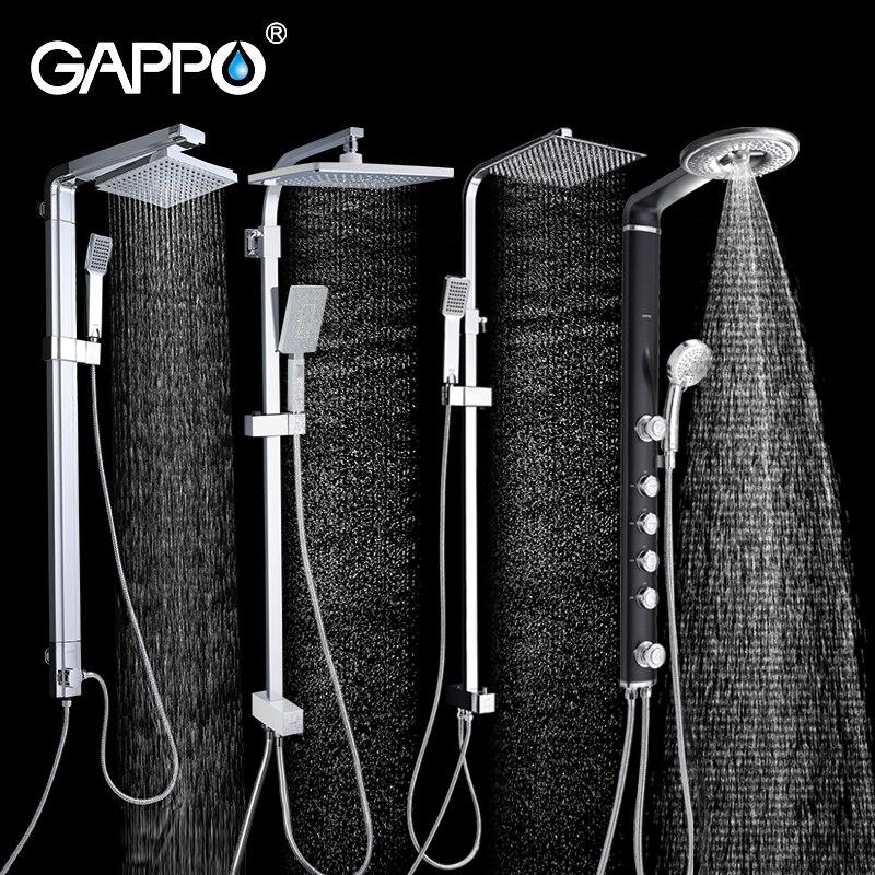 GAPPO bathroom shower faucet wall bath shower faucets set Waterfall wall shower mixer tap set ABS bathtub taps rain shower heads