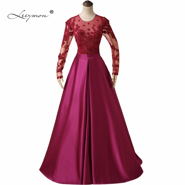 Leeymon Long Sleeves Plum Evening Dress New Fashion Lace Evening ...