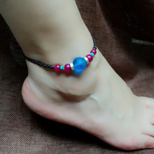 charm accessory Chinese style jewelry Anklets frosted glass Anklet rose red agate Silver Handmade Accessories
