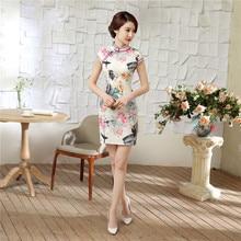 Hot Sale Chinese Women Summer Traditional Dresses Vintage Satin Short Qipao Novelty Print Cheongsam Tops S M L XL XXL LGD54