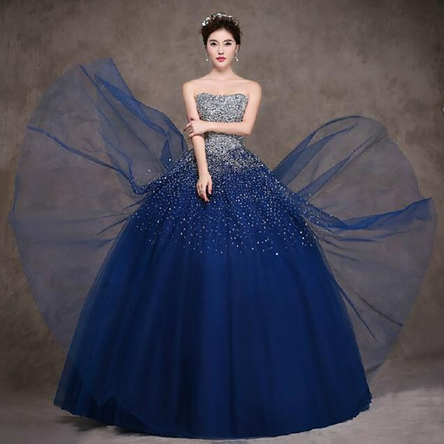 2016 Blue Ball Gown Quinceanera Dresses Masquerade Dress Strapless ...