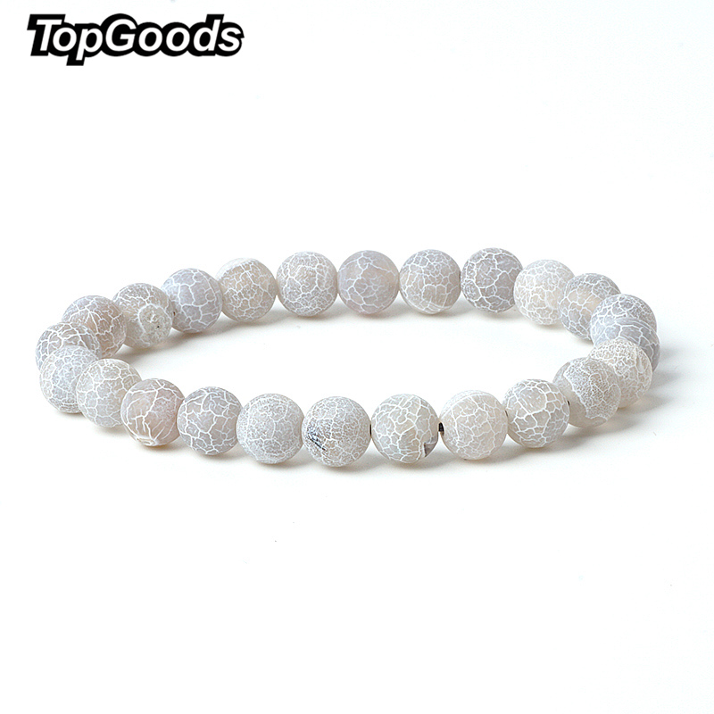 TopGoods Natural Stone Grey Weathered Agate Bead Bracelet Vintage Charms Bracelets Gift for Women Men DIY Gemstone Bracelets