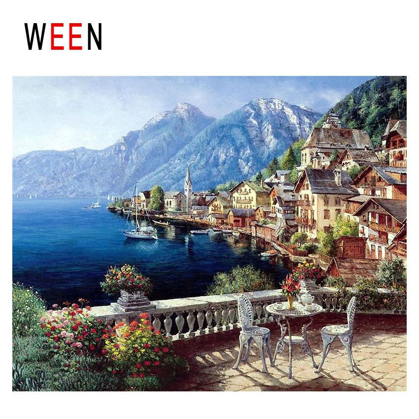 WEEN Mountain Island Diy Painting By Numbers Abstract Town Oil On Canvas Sea Boat Cuadros Decoracion Acrylic Home Decor