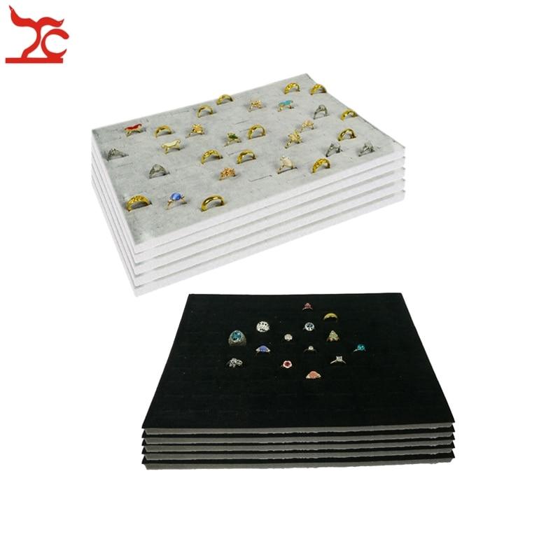 Wholesale 5Pcs Velvet Foam Ring Insert Counter 100 Slot Velvet Tray Insert Ecconomic Ring Organizer Display Liner 33.5*22.5*1cm mesh insert velvet skater dress black