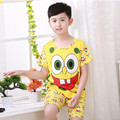Новый дети пижамы наборы наборы детские мальчики девочки хлопок одежды губка Боб одеяло спальное место с коротким рукавом пижамы дети пижамы
