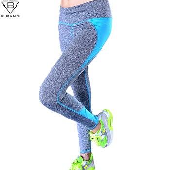 B.BANG Women Sport Running Capris for Running Gym Fitness Sports Pants Nine Leggings for Woman Elastic Trousers ropa deportiva Лосины