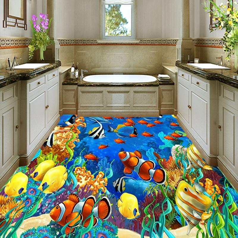 Custom Self Adhesive Floor Mural Wallpaper 3D Submarine