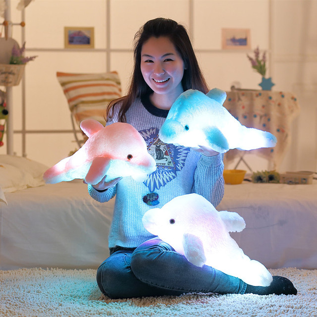 45cm Creative Luminous Plush Dolphin Doll Glowing Pillow, LED Light Plush Animal Toys Colorful Doll Kids Children's Gift WJ453