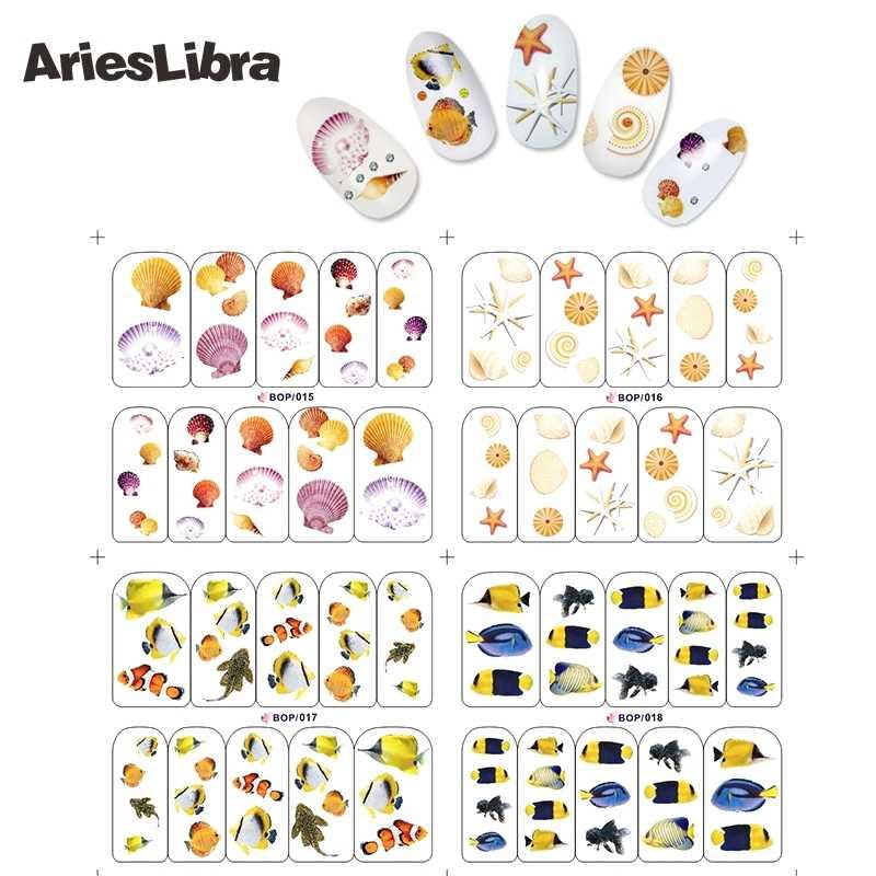 AriesLibra autocollant pour ongles poisson Clownfish Betta série poisson étoile de mer décalcomanie pour autocollants décalcomanies Nail art ongles accessoires curseurs