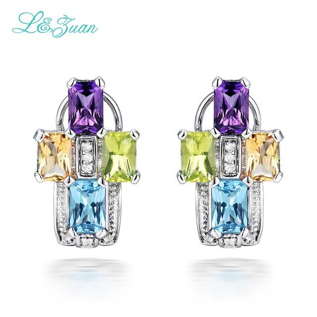 I&Zuan 925 Sterling Silver Jewelry Amethyst Purple Stud Earrings for Women 4 Color Amethyst/Green Crystal/Topaz/Citrine Stone