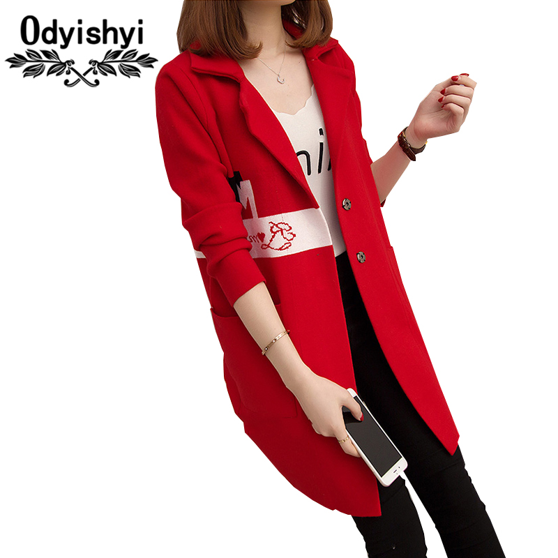 2018 Autumn New Sweater Women Cardigan Large size Thick Knitted Coat Fashion Embroidery Letter Medium length Cardigan Tops HS139