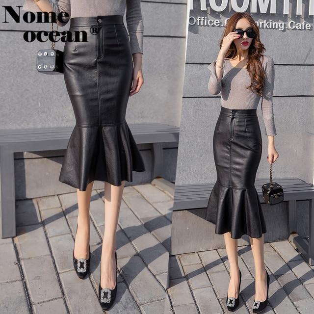 1e32b8fe67 Sexy PU Skirts for Women Ruffle Sweep Mermaid Skirt of Girls 2018 Autumn  High Waist Faux Leather Midi Skirt Black M18081906