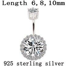 Кольцо для пупка, Настоящее серебро 925 пробы, пирсинг, хорошее ювелирное изделие, круглый циркон, не вызывает аллергию, длина 6 8 10 мм, серебро 925