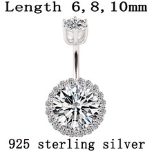Belly button ring real 925 sterling silver body piercing fine jewelry round zircon not allergic pin length 6 8 10 mm 925 silver