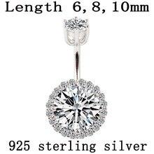 Anello del tasto di pancia reale dell'argento sterlina 925 body piercing gioielli zircone tondo non allergica pin lunghezza 6 8 10 mm 925 argento
