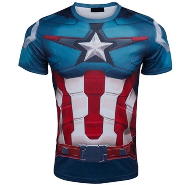 ff4c0246d2e61 Los Vengadores Capitán América camiseta compresión Medias ropa fit hombres  manga corta películas camiseta