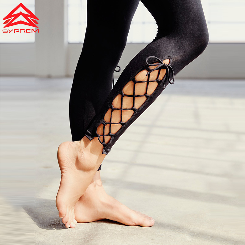 SYPREM Women Sexy Cross Straps Hollow Out Yoga Leggings Hot Sell Fitness Sportswear Stretch Running Tights Sports Clothing,WY553