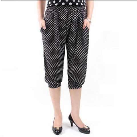 Áo nữ quần bắp chân-Chiều dài quần in hình cao cấp thun quần dài lưng thun Châu Âu mùa hè Quần Mỏng Nữ Capris