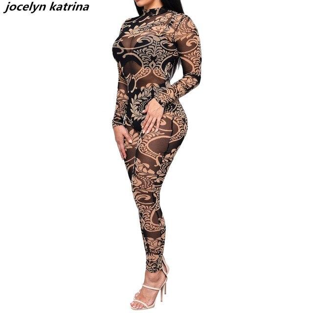 98cebe417406 jocelyn katrina brand Vintage style fashion sexy jumpsuit mesh night club  bodycon jumpsuit women bodysuit playsuits jumpsuit