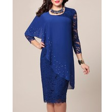 Women Elegant Sequins Casual Dress Lace 3/4 Sleeve Summer O Neck Irregular Office