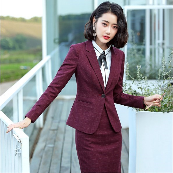 Office Uniform Style Women Formal Pant Suits Women Work Pant Skirt Suit Plus Size Red Grey Blue 2 Piece Set Womens OL Pantsuits