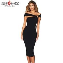 SEBOWEL Burgundy Sexy Off Shoulder Bodycon Party Dress Women Elegant Midi  Evening Gown Dress Lady Bandage 5cc9771ba53c
