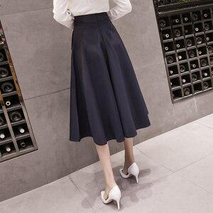 Image 3 - 2019 春のハイウエスト A ラインビッグスイングミディスカート韓国ポケットオフィスレディエレガントな女性スカートペチコートファムファルダ