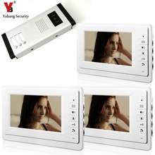 YobangSecurity 7 Inch Wired Video Door Phone Visual Intercom Doorbell with 3* Monitor+1* Camera For 3 Units Apartment Intercom