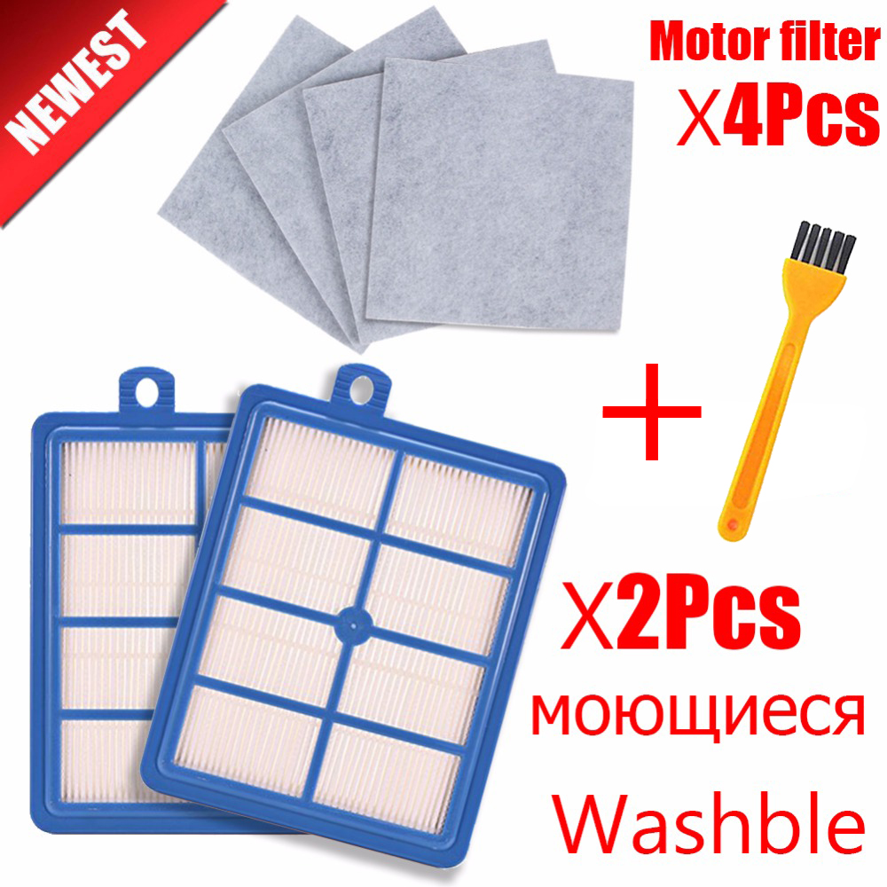 Washable 2PCS Dust Hepa Filter H12 H13+4PCS Motor Cotton Filter For Philips Electrolux AEG Vacuum Cleaner Replacement Parts