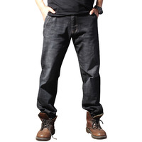 New Arrival Male Loose Straight Jeans Autumn Spring Black Pants 100 Men S Cotton Trousers Plus