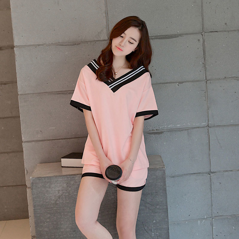 Fashion Online's Store Foply 2017 New Women Pajamas Sets Hot Summer Short Sleeve Cute O-neck Loose Sleepwear Girl pijamas Mujer Nightgowns For Women