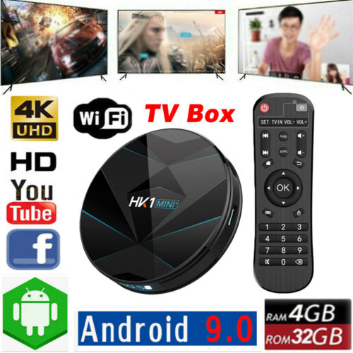 4 + 32G Android 9.0 TV BOX WiFi 2.4G/5G HK1 Mini + TV BOX Quad-Core lecteur multimédia intelligent sans fil + télécommande 4D12