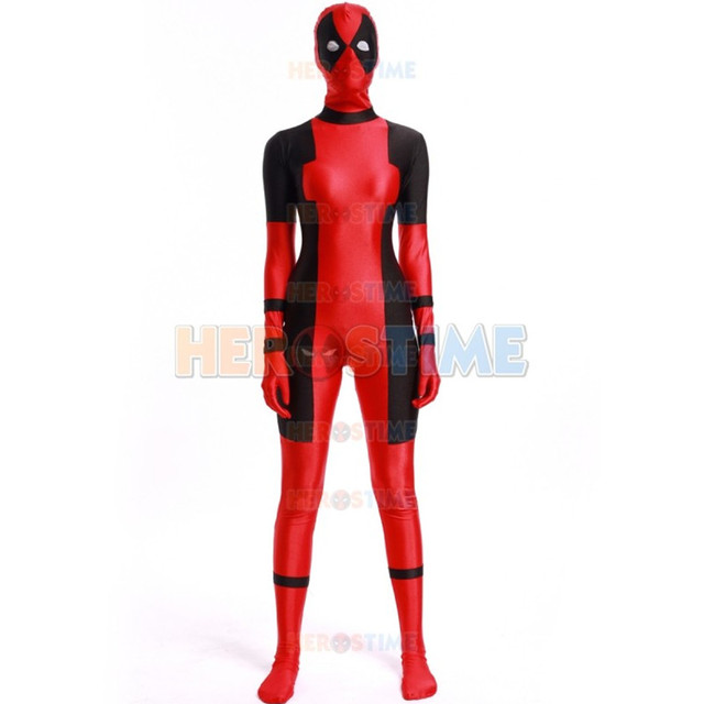 High Quality Womens Deadpool Costumes Women Superhero Cosplay Costume Lady Spandex Costume Female Zentai Deadpool Full