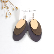 Indian Woman Maxi Earrings For Female Natural Wood Three Layers Oval Big Earings