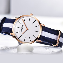 Women's fashion leisure ultra-thin waterproof nylon top luxury brand watches, quartz simple gifts necessary original ms see cloc