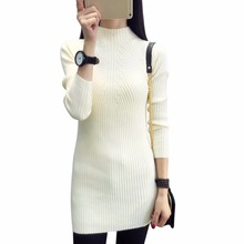 Women Warm Long Sleeve Knit BodyCon Slim Party Sweater Mini Dress Colorful Apparel Autumn Winter Thickening Sweater casual Tops