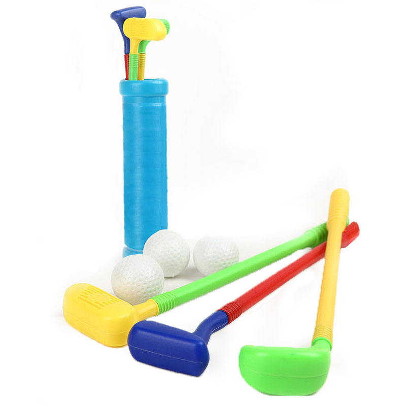 7PCS Plastic Golf Outdoor Toys Sports Parent-child Exercise Mini Golf Game Sports For Baby Grasping 3 Ball +3 Cue+ 1 Cover