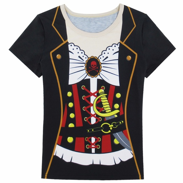 0f1b3ecba Women Pirate Costume T Shirts Halloween Ladies Cos Party Novelty Top ...