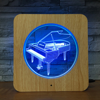 Piano 3D LED Wooden Grain Night Light DIY Customized Lamp Table Lamp Friends Birthday Colors Gift Home Decor Fast DropShipping