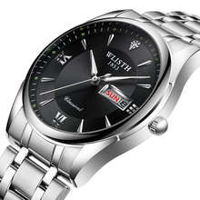 WLISTH Date Men's Watch Waterproof Stainless Steel Wrist Watch High Quality Men's Watch Quartz Wall Clock Black Watch Men все цены