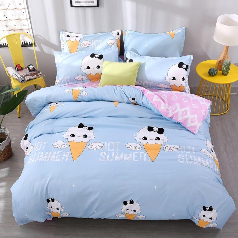 Cute ice cream cone Home Soft Comfortable Set King Queen Full Twin Size AB Design Duvet Cover + Flat Sheet + Pillowcase